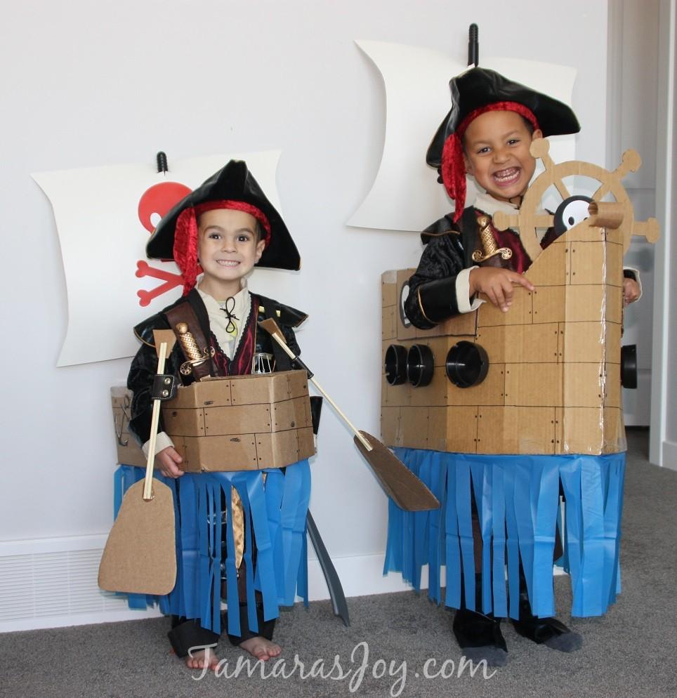 Easy Kids Pirate Costume, Made from Cardboard! ⋆ Tamara's Joy