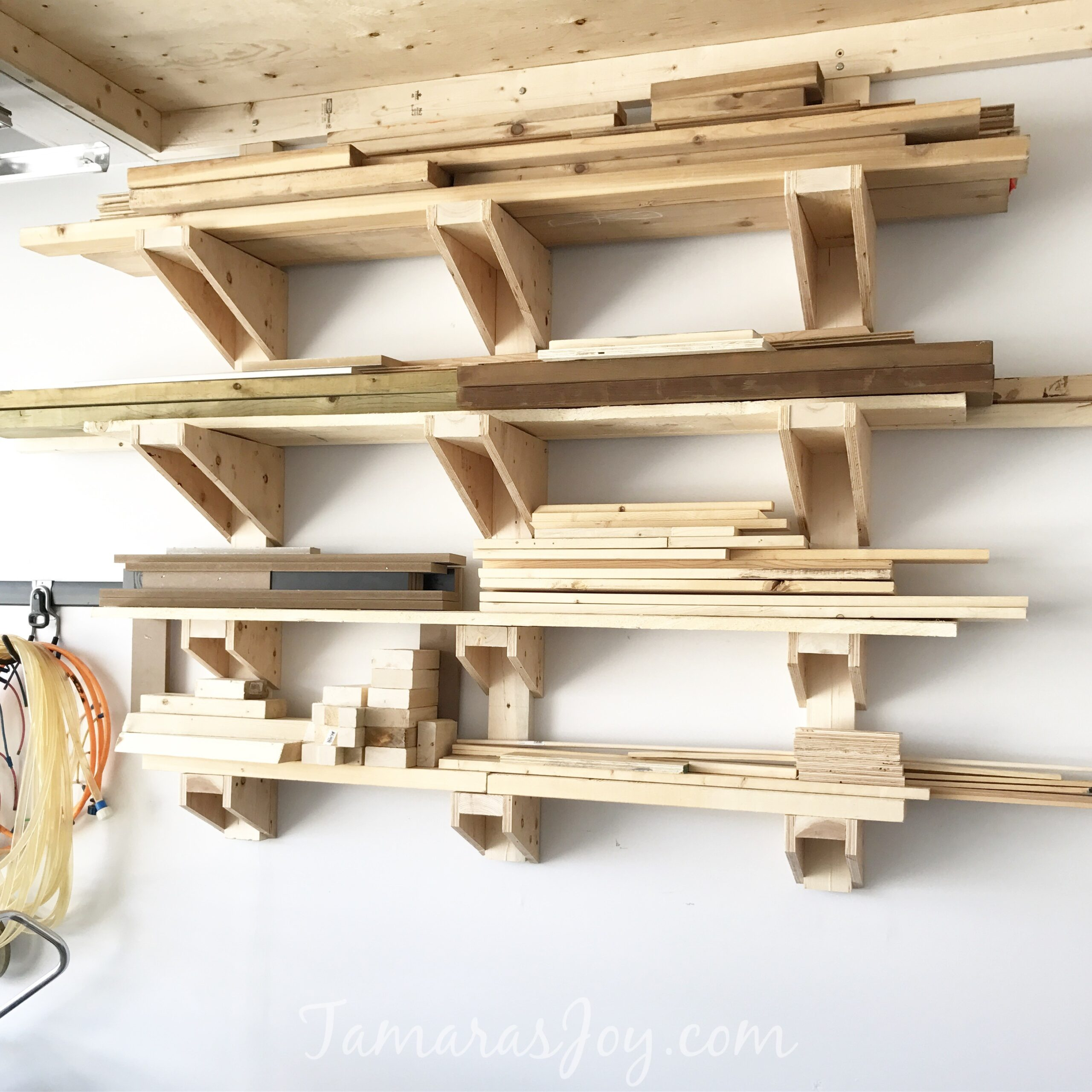 DIY Garage Lumber Rack How to Build it!  sc 1 st  Tamarau0027s Joy & A Simple DIY Garage Lumber Rack that YOU can build! - Tamarau0027s Joy