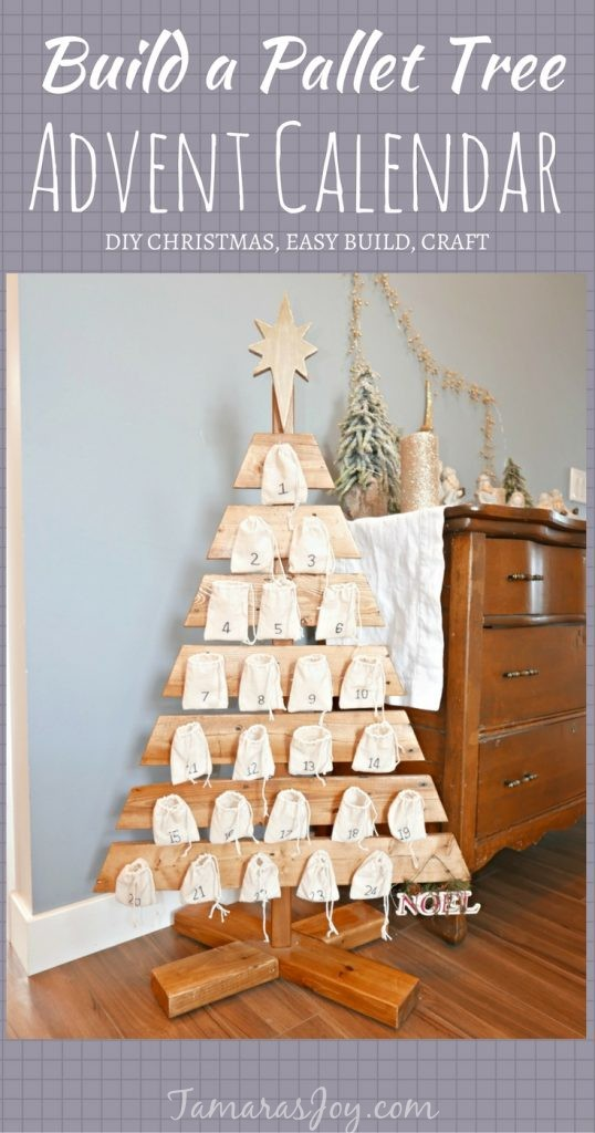 Build an advent calendar tree out of a pallet following tamarasjoy.com