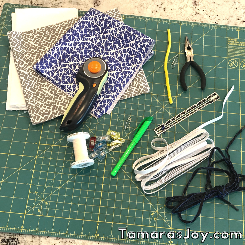 Items needed to sew a  face mask with filter pocket