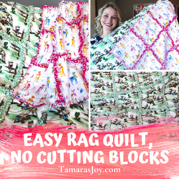 An Easy Rag Quilt pattern without cutting blocks! YAY! This easy rag quilt pattern can be done in under an hour and you will have a great handmade baby gift