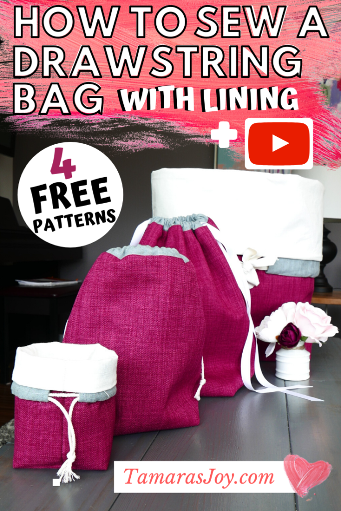 Free sewing pattern for drawstring bag with lining